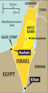 Map of Israel, Gaza, and West Bank. This whole area is so small and so disproportionately debated, that if you print out every article and story on the conflict, you could cover the whole area with about 100 feet high layer of paper. (Image source: weeklyintercept.blogspot.com)